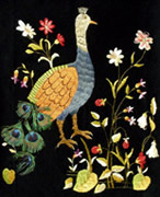 Embroidered peacock.